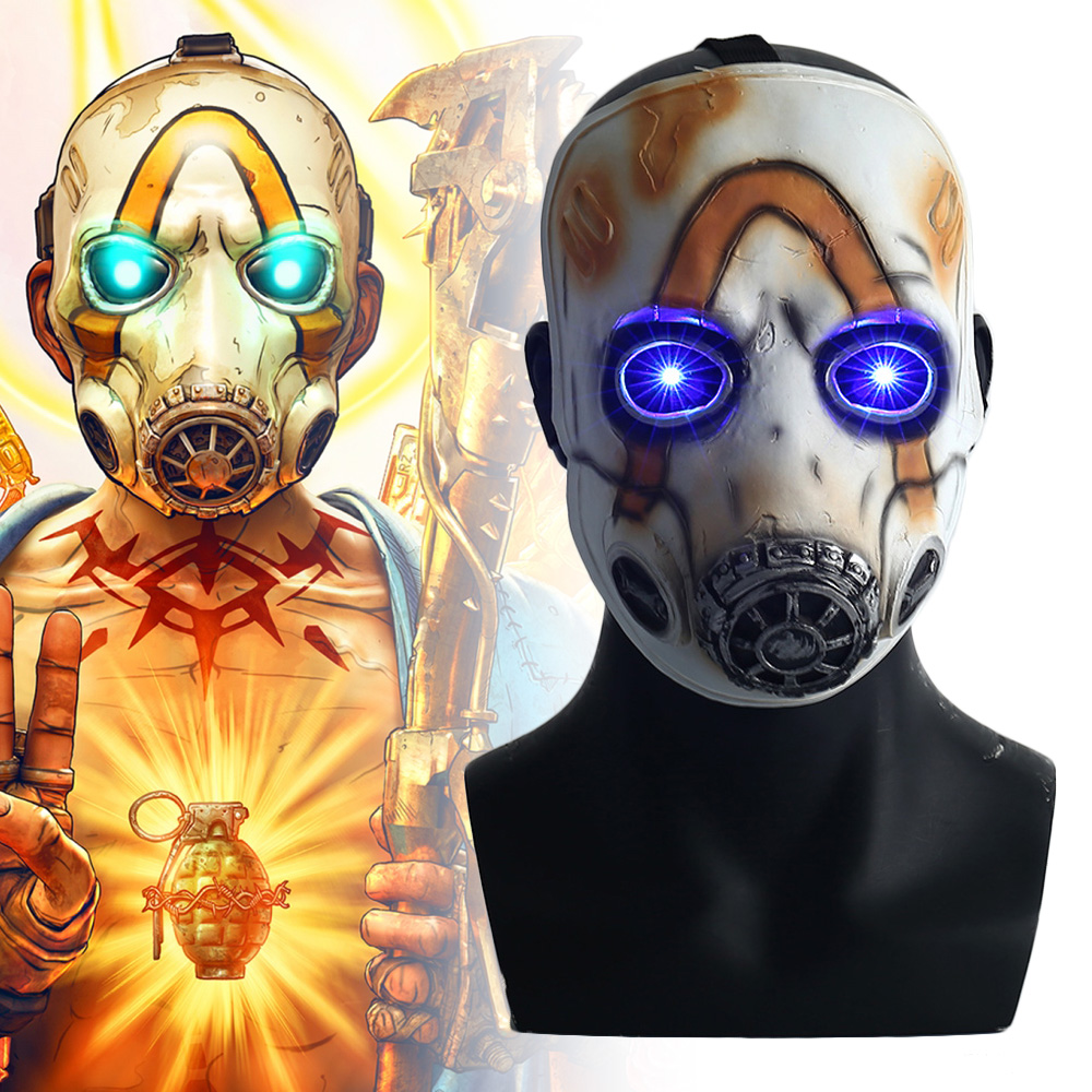 2019 Game Borderlands 3 Psycho Cosplay Mask Full Face Latex LED Light Adult Props Costume Party Halloween Fancy Dress Ball