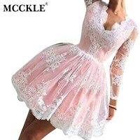 MCCKLE רקמה אלגנטית שמלות תחרה לנשים שרוול ארוך V צוואר טלאים נשים המפלגה שמלת השמלה ורודה שמלת רשת נקבה