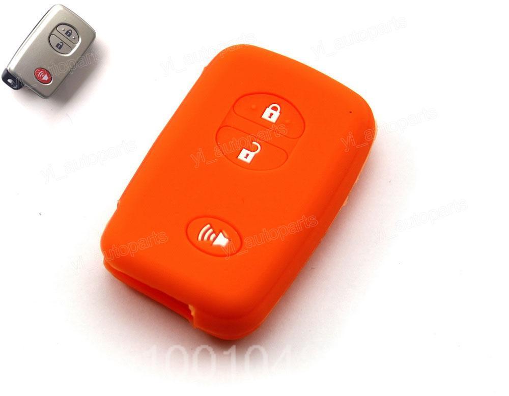 Orange Silicone Case Cover Holder Fit For Toyota Prius RAV4 4Runner Highlander Land Cruiser Remote Smart Key 3 2 +1 Buttons 3BT