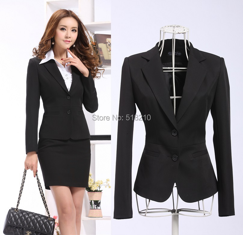 Profesional elegante negro uniforme estilos negocios mujer