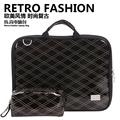 Shiny Black Plaid Texture Imported PU Leather Notebook Bag Laptop Handbag for Macbook, for iPad, for Asus, for Dell, for HP