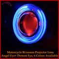 2016 Linterna de La Motocicleta 2.3 Pulgadas HID Bi xenon Proyector LensXenon Kit Completo de luz Con Ccfl Halo de Los Ojos de Ángel Y Demonio ojo