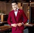 Boda Trajes de Esmoquin Para Los Hombres 2016 de la Marca Elegante de La Vendimia Hombres Slim Fit Prom Novio Traje de Chaqueta + Chaleco + Pant