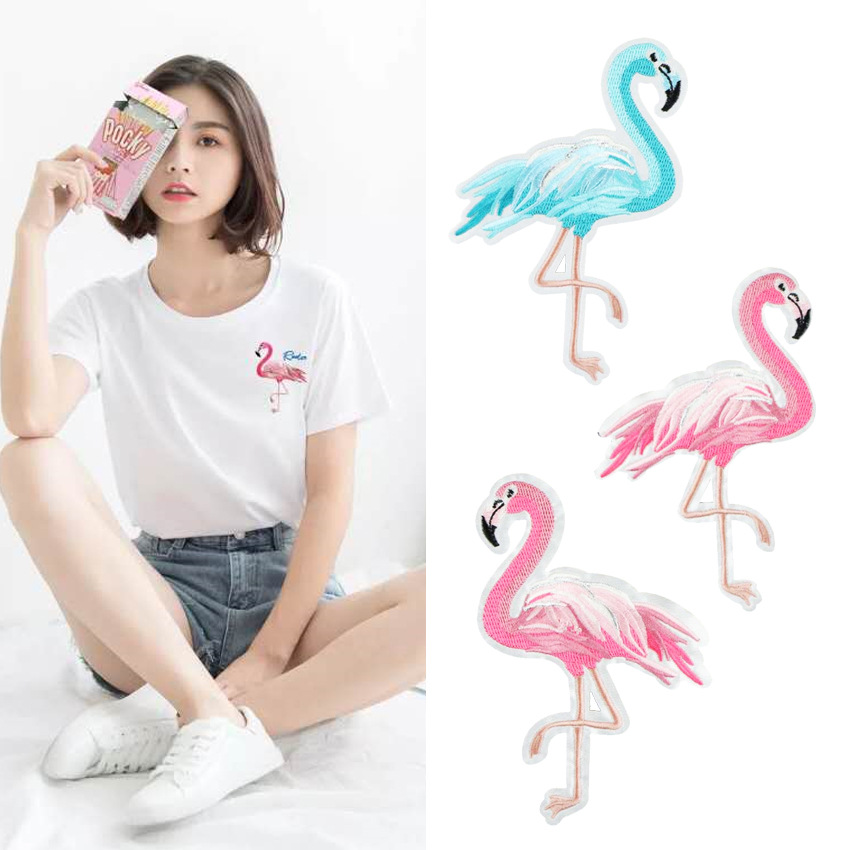 Supplementary Embroidery Lace Small Fresh Flamingo Embroidery Cloth Pasted With Star Tide Brand Embroidery DIY Subsidy Cloth