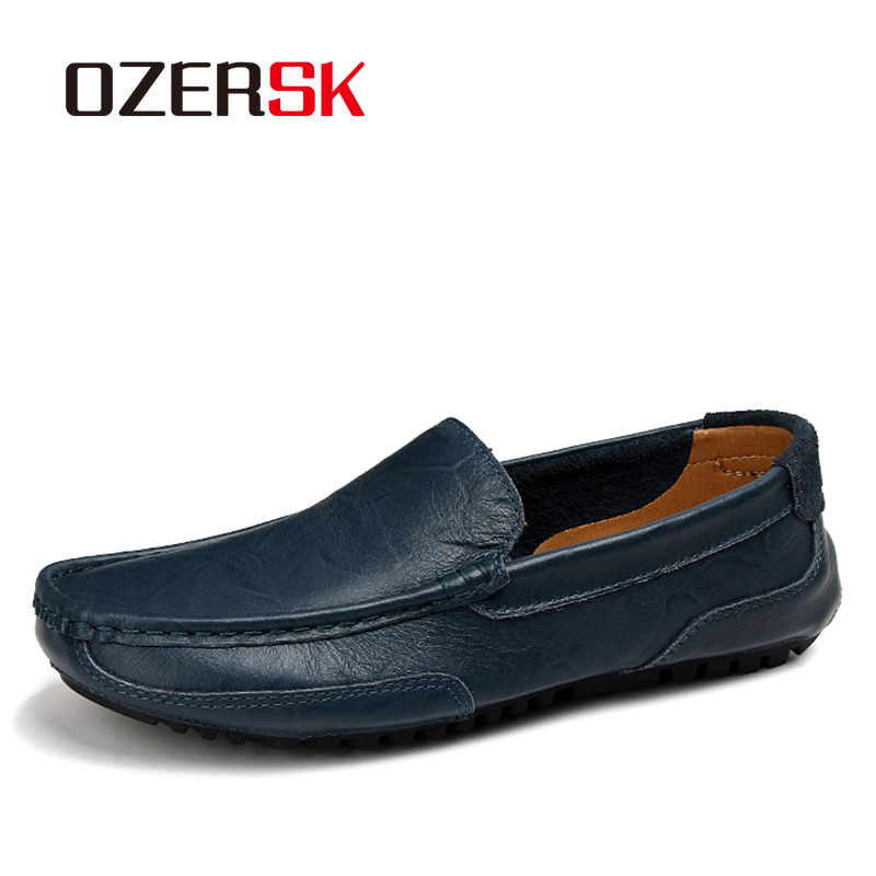 OZERSK Men's Casual Genuine Leather Shoes Summer Men Flat Walking Loafers Black Brown Man Luxury Slip On Boat Shoes Big Size