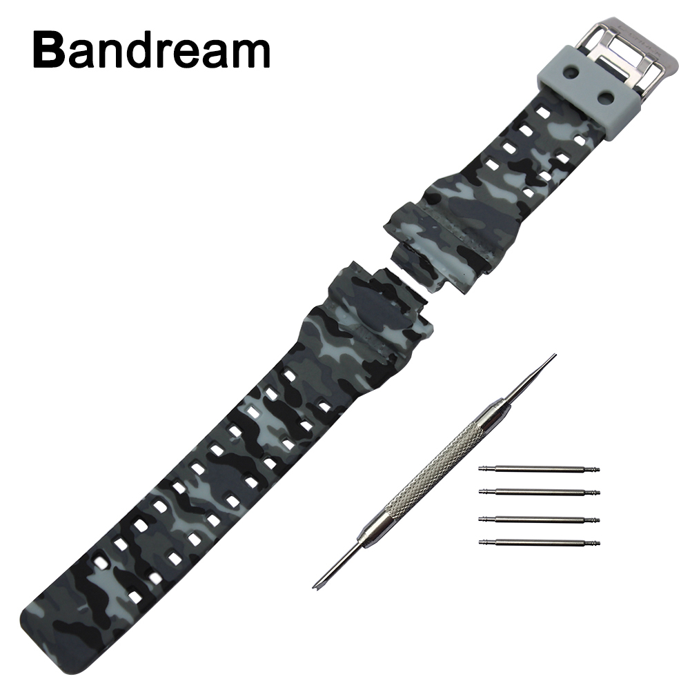 все цены на Silicone Rubber Watchband 16mm x 29mm Convex Strap for Casio G-SHOCK GA120 GA-100 GA-110 Steel Clasp Watch Band Black White Camo