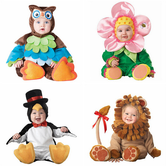 ФОТО Kids Clothes Fleece Romper Set Baby Boys Girls Jumpsuits Overalls 2015 Winter Animal Cosplay Shapes Halloween Christmas Costume