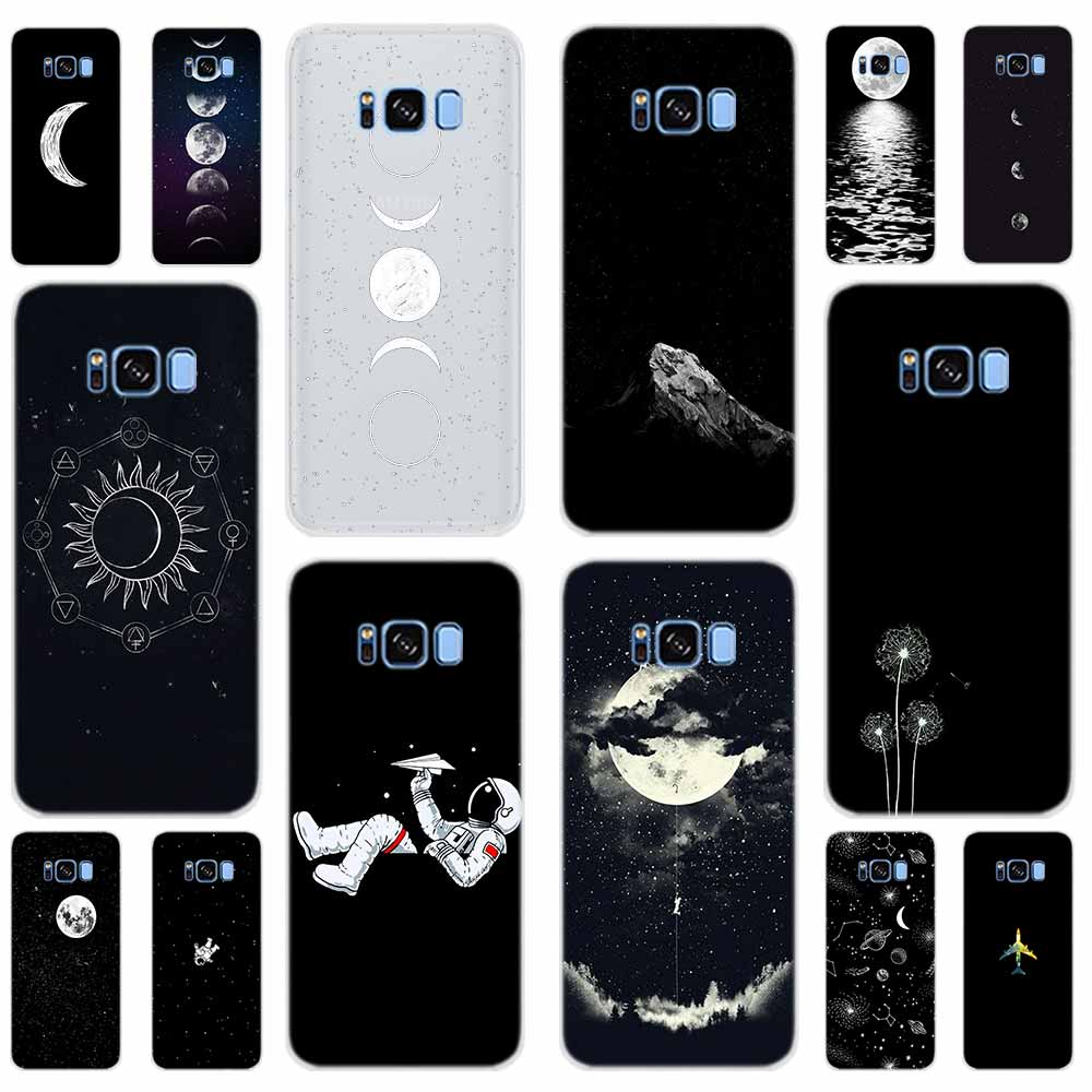 Pattern <font><b>Case</b></font> For <font><b>Samsung</b></font> Galaxy S8 S9 S10 S11 Plus Note10 9 8 Cover S10E <font><b>S7</b></font> <font><b>Edge</b></font> 5G Black and <font><b>white</b></font> color airplane Space moon image
