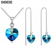 c53ebe71cc04 Azul colgantes de corazón de cristal de Swarovski boda collares pendientes  conjuntos de joyas de moda de novia fiesta regalos de.