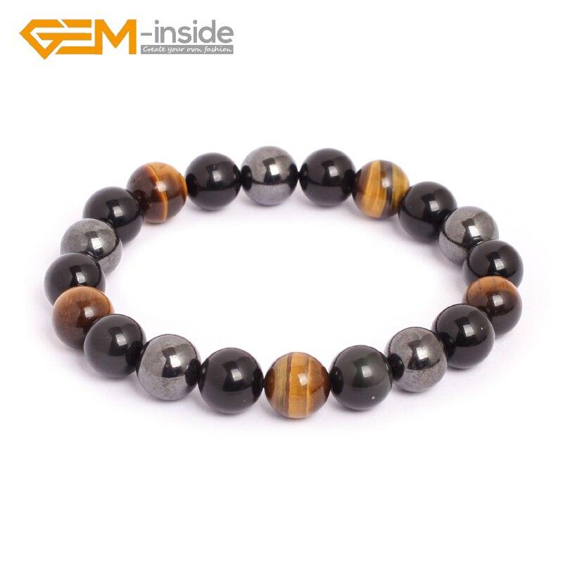 10mm pulseira de pedra natural olho de tigre hematita obsidiana grânulos para mulheres moda masculina presentes de natal do amor quente!