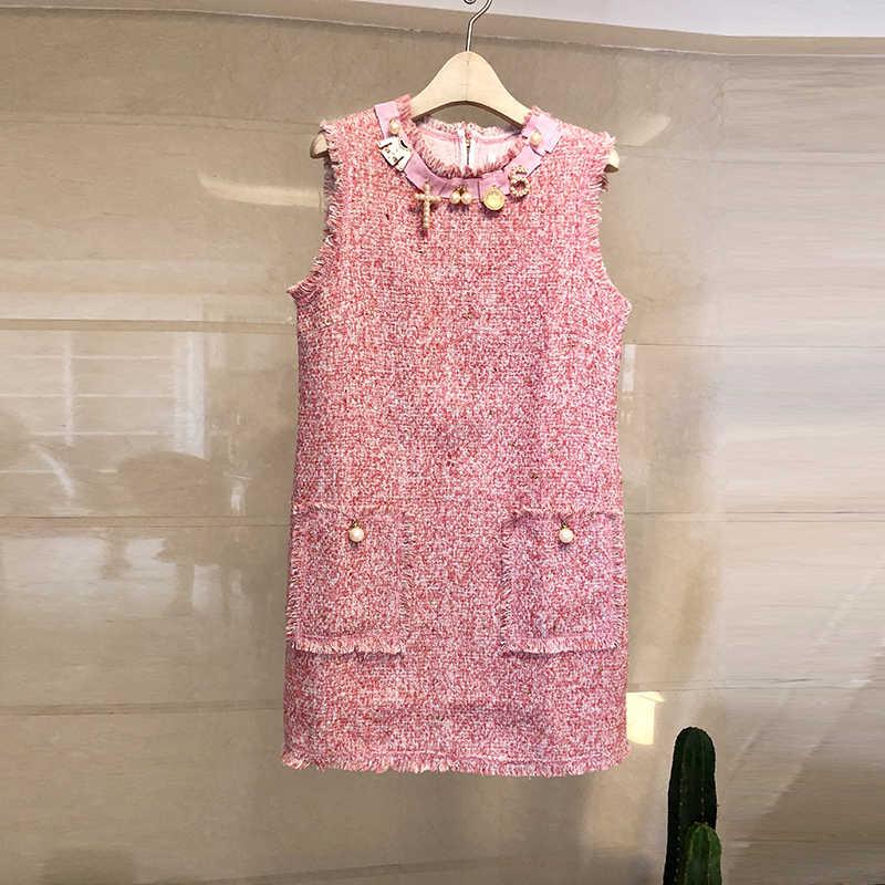 מסלול מעצב נשים מתוק שרוולים יהלומים ואגלי פרל כיס גדילים שמלת 2019 חורף גברת טוויד צמר טנק מיני שמלה
