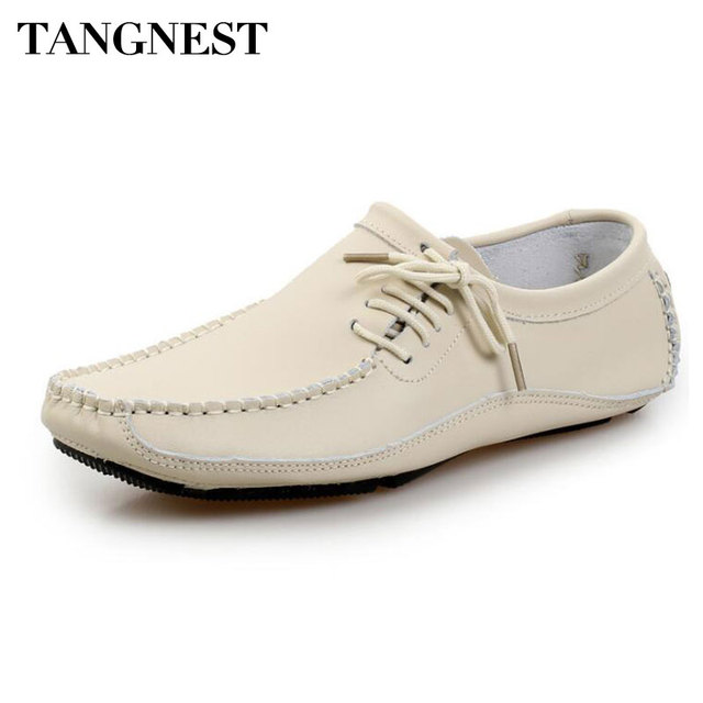 Tangnest New Genuine Leather Loafers For Men Casual Square Toe