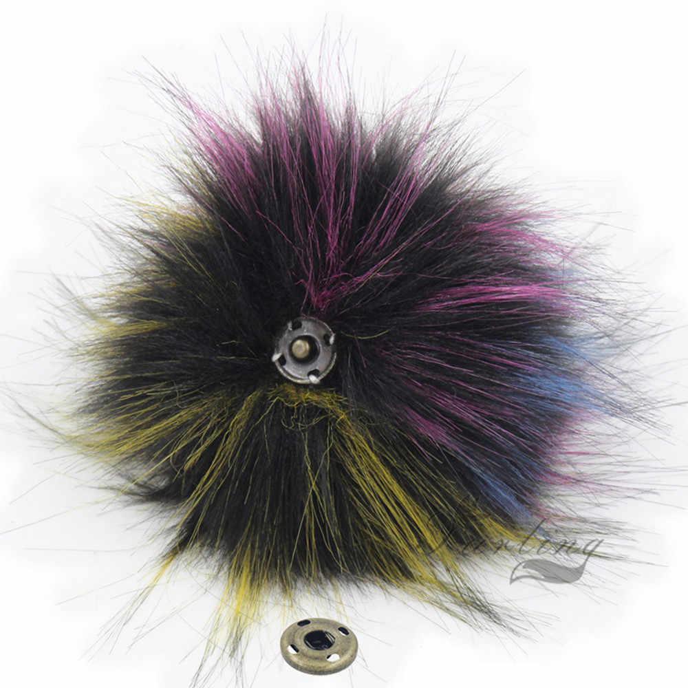 Set of 1pcs Faux Pom poms Ball Raccoon Fur 8CM  Press Button for Beanie Hats