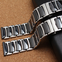 Black Ceramic Straight end Watchband common watch accessories band strap bracelets for gear S3 and diamond watch bands men women(China)
