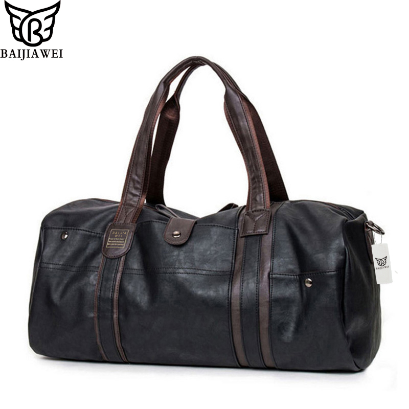 BAIJIAWEI New Arrival Oil Wax Läder Handväskor För Män Stora Kapacitet Bärbara Axelväskor Mäns Resväskor Travel Package