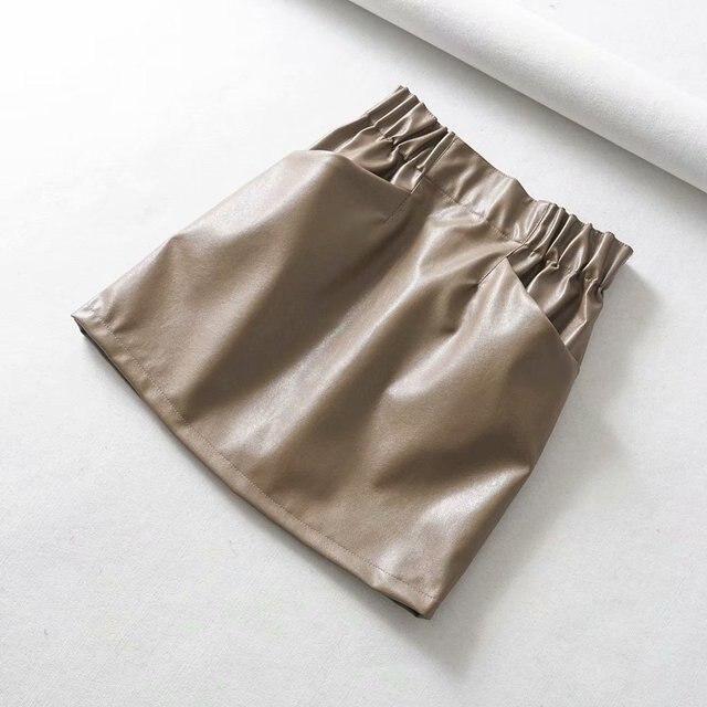 Women Skirts  Above Knee Mini Women's double pocket elastic waist PU Faux leather skirt Jupe Femme Faldas Mujer 4
