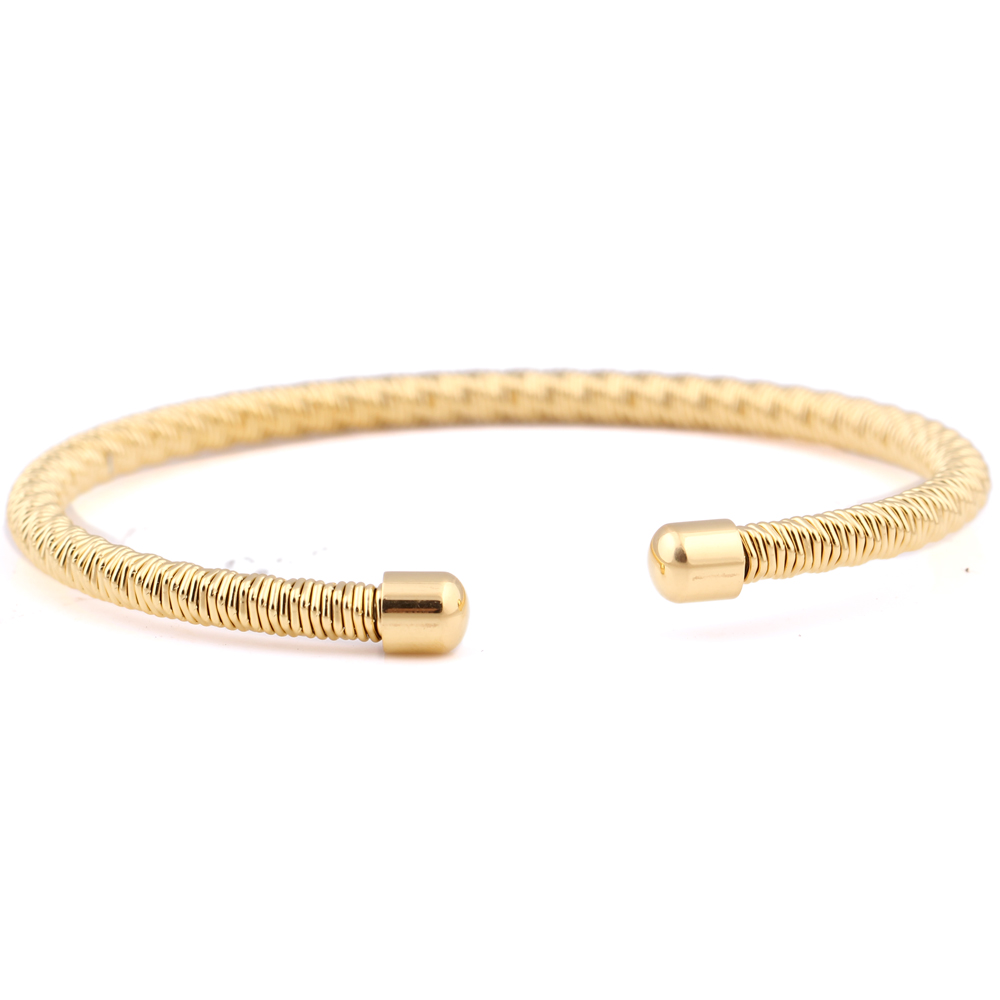Never Fade Stainless Steel Twisted Wire Bracelets Bangles Gold ...