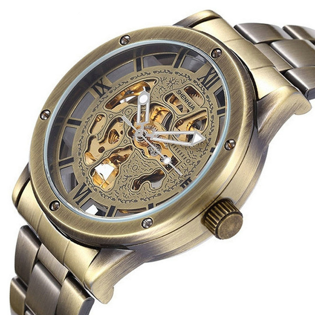 Automatic Bronze font b Watch b font Men Luxury Brand Clock Male stainless steel Strap Antique