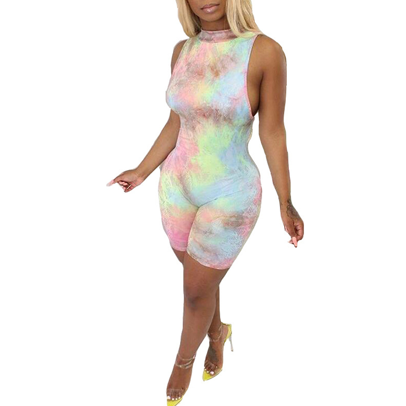 Summer new women 39 s sexy tight jumpsuit digital print rainbow fashion jumpsuit casual sleeveless pencil one piece shorts in Rompers from Women 39 s Clothing