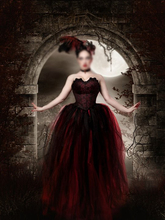 Ball Gown Red and Black Lace Gothic Wedding Dress For Women Formal Occasion Bridal Gown Customize vestidos de novia