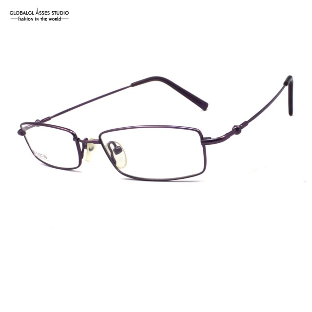 1f243daea60 Rectangle Lens Slim Metal Glasses Shiny Purple Flex Hinge Memory Temple  High Quality Spectacle Frame LX