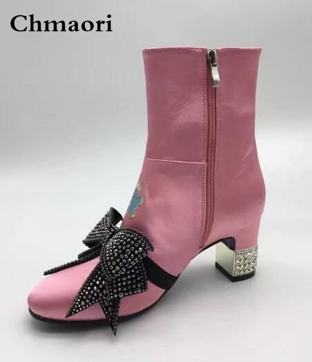 2017 New Embroidered Dragon Pattern Women Satin Ankle Boots Removable Crystal Bow Tie Design Crystal Mirrored Heel Short Booties