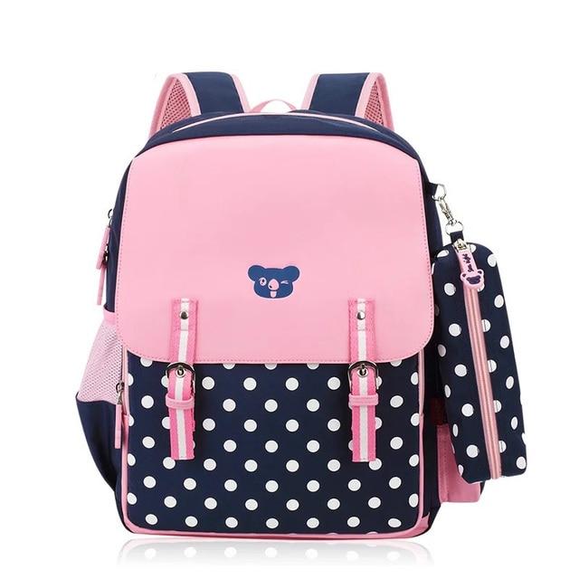 PU Orthopedic School Bag Backpacks Dot Girls Backpack Primary ...