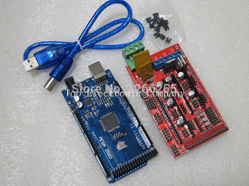 Free Shipping 1pcs Mega 2560 R3 Mega2560 REV3 + 1pcs RAMPS 1.4 Controller for 3D Printer for arduino kit Reprap MendelPrusa