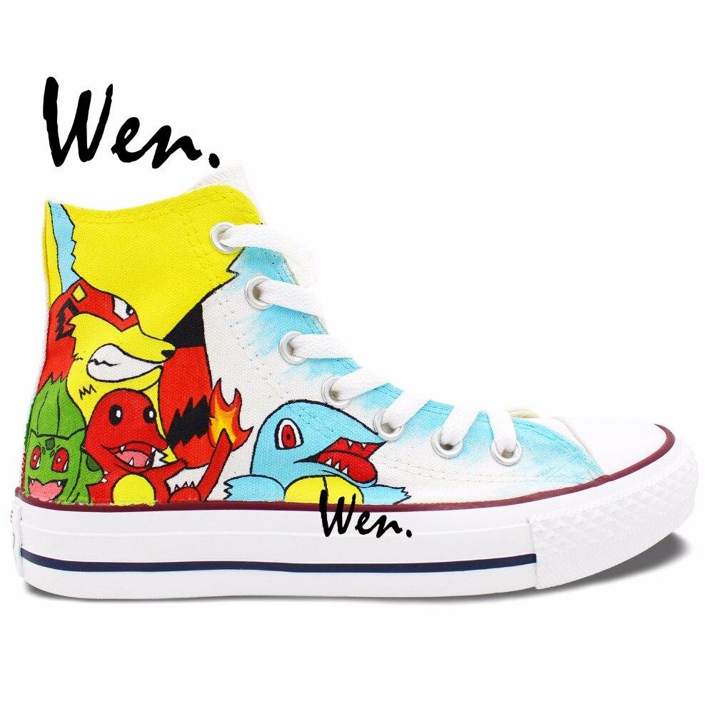 Prix pour Wen Blanc Peint À La Main Chaussures Design Personnalisé Anime Chaussures Pokemon Caractères de Haute Top Femmes Hommes Toile Sneakers
