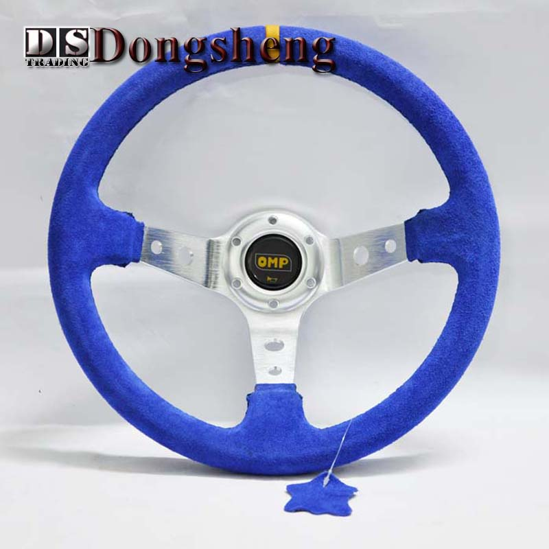 "14 ""350MM Blue Car Steering Wheel OMP yarn mill leather Steering Wheel Steering Wheel Deep Corn Dish Wholesale and Retailer"
