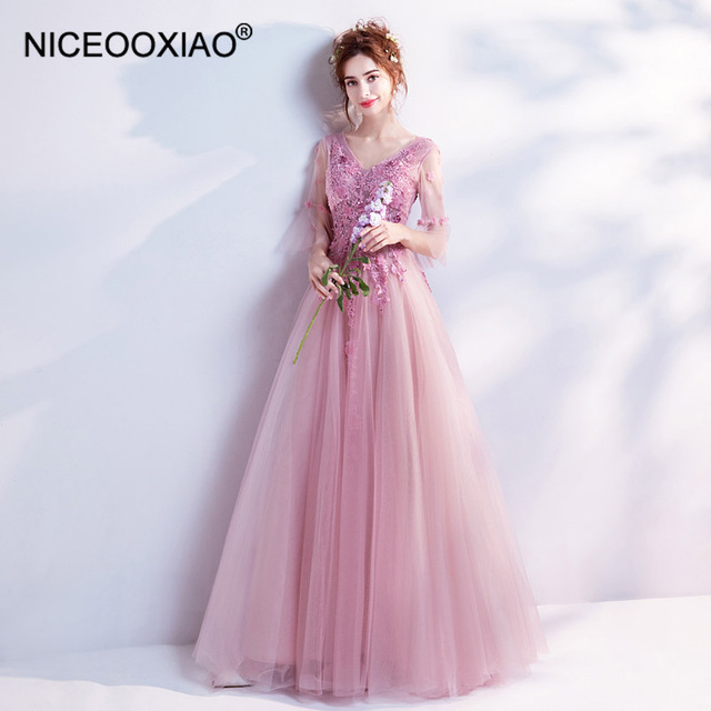 25718be0b NICEOOXIAO Fantasy Flowers Rose Pink Bridal Gown V Neck Sexy Evening  Dresses High End Design Banquet