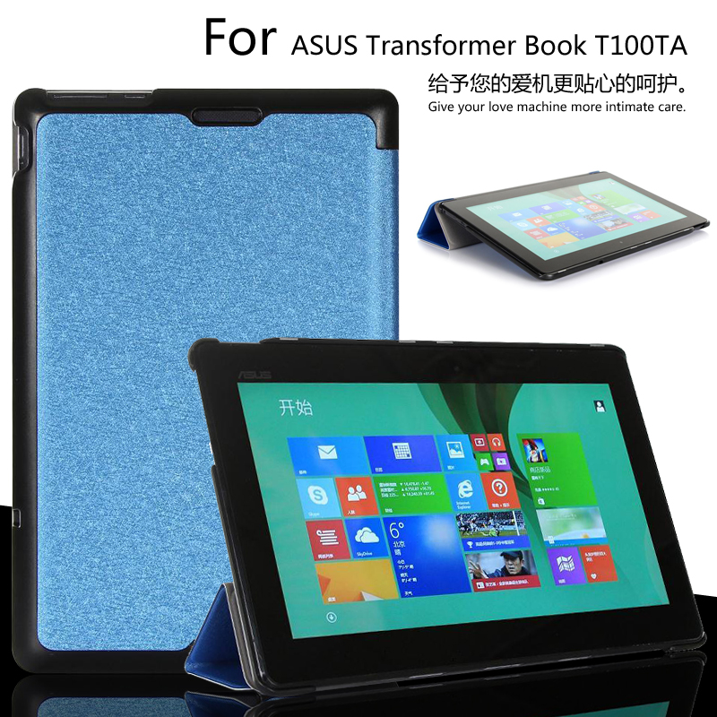 For Asus T100 T100at Tri-folded design leather Case Stand Smart super flip leather Cover For Asus Transformer Book T100 T100TA чехол для планшета asus transformer book t100ta t100