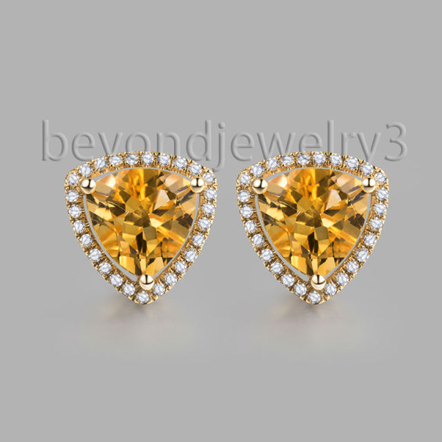 solitaire mirabess yg earrings stud in yellow per gold three diamond products prong heart
