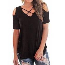 Women Summer Fashion V-collar Cross-shoulder Short-sleeved Loose T-shirt Short  V-Neck Solid Elegant Female Casual T-shirts