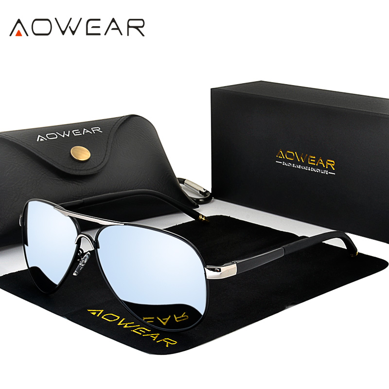 Aowear óculos de sol de aviação homem polarizado espelho para o homem hd condução polaroid óculos de sol lunettes soleil homme