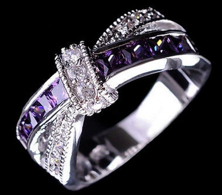 High Quality Paved CZ Cubic Zirconia Purple Crystal Cross Bow Princess Finger Ring For Women Lady Wedding Engagement Jewelry