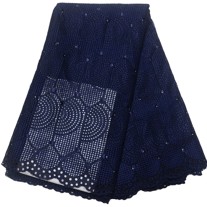 5yards pc High quality navy blue African dry cotton lace fabric elegant Swiss lace fabric