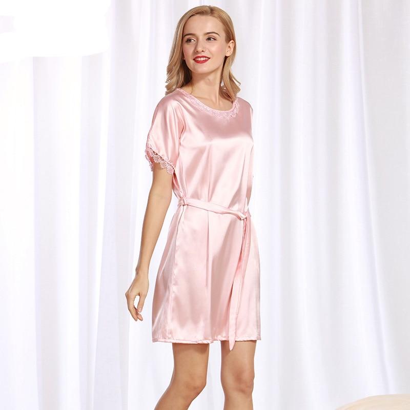 NG085 Women Nightgown Sleepshirts Lady Satin Silk Sleepwear Dress Gown Brand Round Neck Bathrobe Short Sleeves Nighties Lingerie