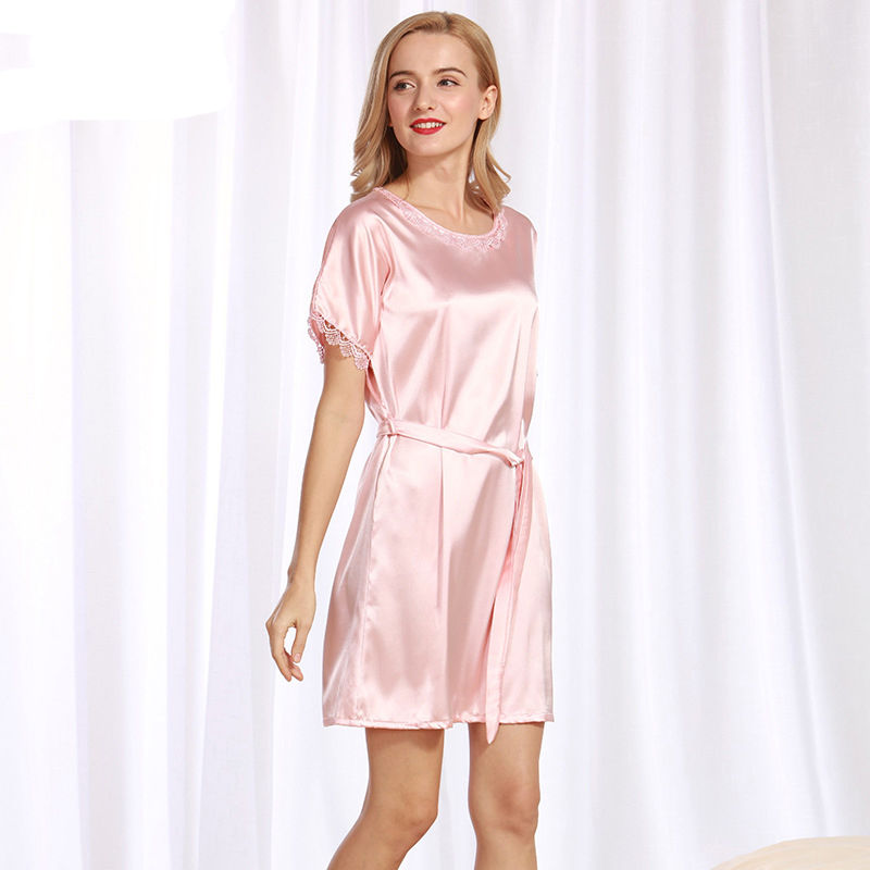 NG085 Women   Nightgown     Sleepshirts   Lady Satin Silk Sleepwear Dress Gown Brand Round Neck Bathrobe Short Sleeves Nighties Lingerie