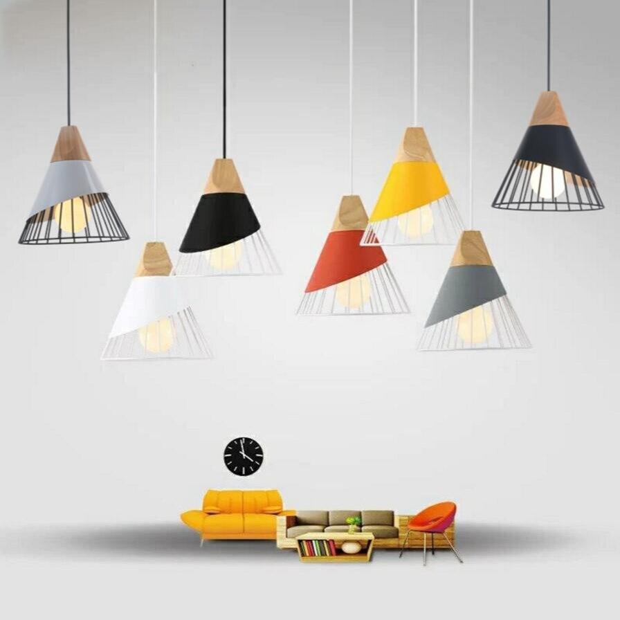 Vintage indoor lighting pendant light Wood aluminum lamp restaurant bar coffee dining room LED hanging decoration light fixture