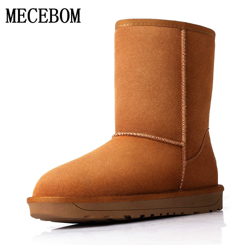 Women Snow Boots With Round Toe Flat Shoes Winter 2017 Split Female Warm Leather Ankle Boots For Women Australia footwear 5825W flat with bow ankle boots shoes style women boots round toe platform snow boots for women fashion flock short outdoor shoes