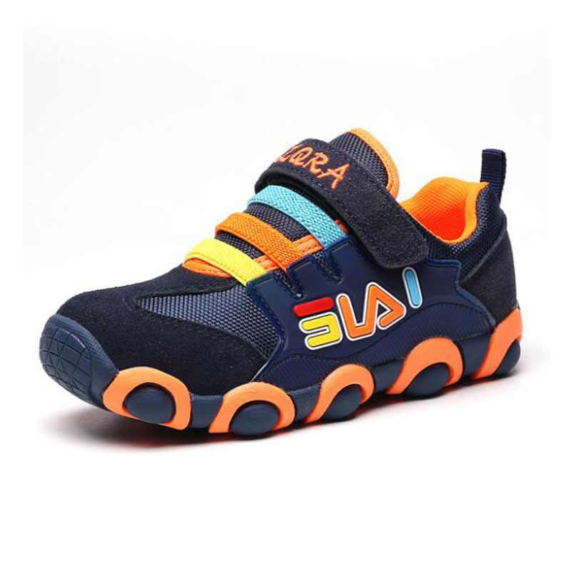 Tank Schoenen Kinderen Echt Lederen Sportschoenen Jongens Meisjes Ademende Mesh Sneakers Fashion Kid Lente Schoenen Maat 26 Tot Maat 37