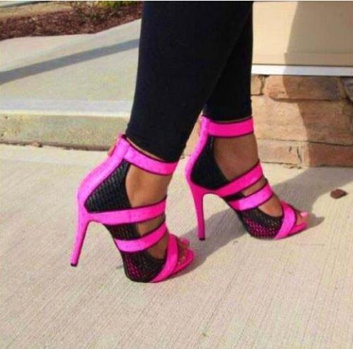Fashion Neon Straps Women Sexy Cut Out Sandals Open Toe Ladies Mesh High Heels Summer Hot Stiletto Zipper Back Dress Shoes