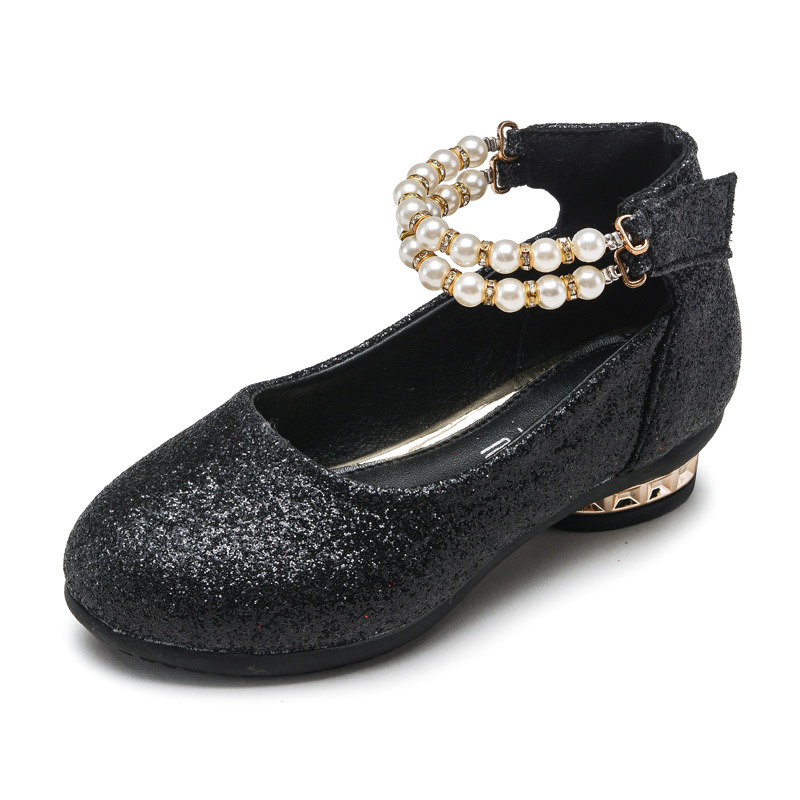 girls shoes 2016 spring princess black white party formal pearls Red faux  leather Footwear for girls 10 years old big size