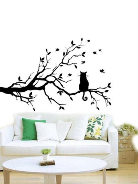 Curtains Ideas cat curtains kitchen : Aliexpress.com : Buy modern 3 sizes for Cat On Long Tree Branch ...