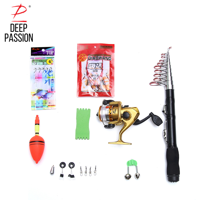 DEEP PASSION Mini Fishing Rod Spinning Pole Peche Fishing Line Hook Portable Rod Reel Set Pen Telescopic Lure Rod Kit Carp 10PCS