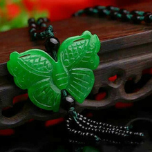 Natural green Emerald carving Butterfly Pendant Fashion Ladies sweater chain necklace pendant jewelry Gifts