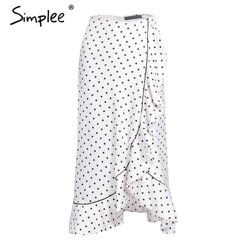 Simplee Ruffle print high waist wrap skirt 2017 autumn