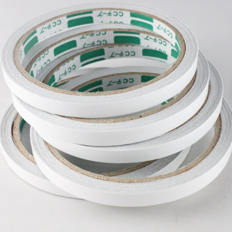 1Pcs Slim Strong Adhesion 8mm X 12m Double Sided Sticky Tape White Powerful Doubles Faced Adhesive Tape Office E0355
