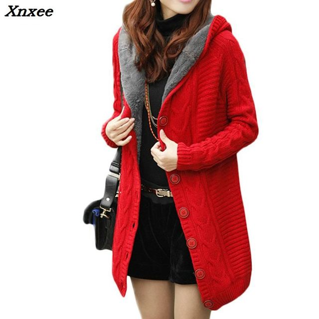 c442b0299f3 2018 New Winter Hooded Cardigan Women Cashmere Sweater Red White Coat Thick  Warm Sueter Mujer Long